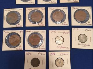 13 Coins from Mexico  1952 1982  All 20 Centavos