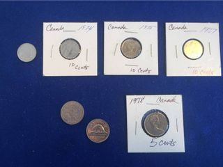7 Coins from the U K  1929 1978 5 Cents  10 Cents