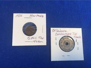 Oklahoma Consumer Tax Check 1 Token    1935 New Mexico 5 Mil Tax Token