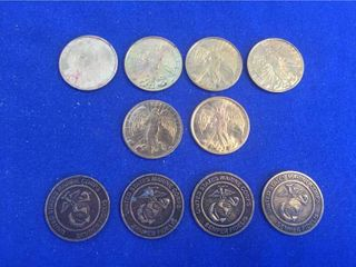 6 Goldtone Guardian Angel Double sided Good luck Tokens Coins  4 US Marine Corps Tokens Coins  All 1 inch diameter