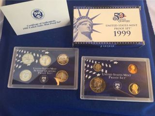 NIB 1999 United States Mint Proof Set   9 Coins Total