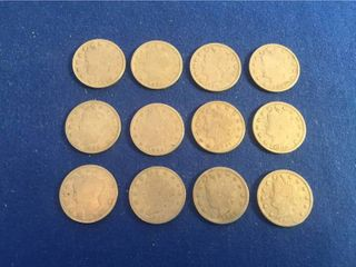 12 Vintage U S  Coins   All are 1883 liberty V Nickels   No Cents