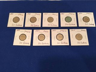 9 Coins from Mexico 1992 1997  All 20 Centavos