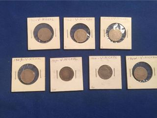 7 Vintage U S  Coins  All liberty V Nickels   with Cents  1   1901  2   1902  2   1903  2   1904