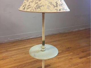 Vintage Side Table Floor lamp with metal base   Marble style cast stone table top  New shade  Works