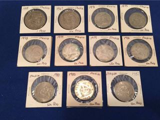 12 Coins from Mexico 1959 1982  All 1 Peso