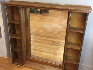 large Wood shelving unit with mirror  53 in x 48in x 8in  Mirror is 28in x 41in