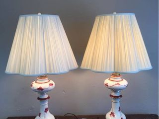 Pair   Antique Hand painted Bisque China Parlor lamps  signed by painter  Both work  One has been rewired