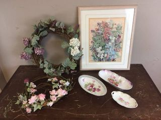 Original Artist Signed Watercolor named Floral Medley 19in x 23in by Barbara Burnett of Mission  KS  Home Decor Floral Wreaths  Vintage China Transferware   Bavaria  JSV Germany