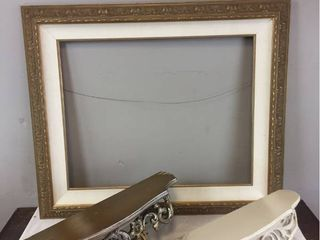 Home Decor   large 39in x 33in Ornate Gold Frame  2 Vintage Scroll Wall shelves