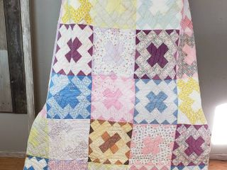 Vintage Hand Made Quilt   65 x 82 in    Five Crosses Pattern   Some wear   small stains