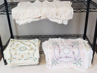 12 Embroidered 16 in  Quilt Squares  2 Sets of 12 in  Embroidered Quilt Squares and 7   19 x 13 in  Crocheted Placemats