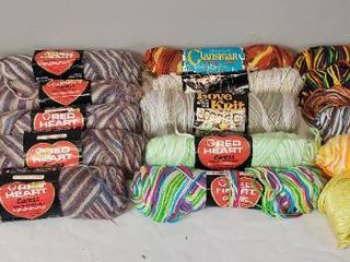 19 Skeins of Yarn  Red Heart  love Knit  Bucilla  Clansman  Bernat and lily