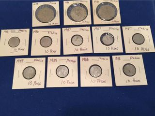 12 Coins from Mexico 1979 1988  All 10 Pesos
