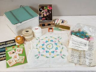 Vintage Wicker Sewing Box  Embroidery Floss  Embroidered Quilt Squares  2  and Instructional Pamphlets