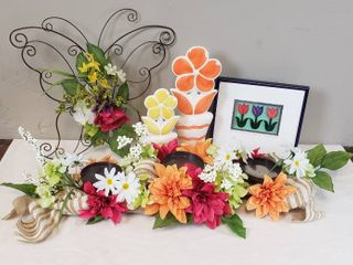Floral Decor  Decorated Pillar Stand  Framed Wall Decor  Metal Butterfly w flowers and 2 Ceramic Potted Flowers