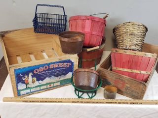 2 Vintage Wood Fruit Crates  3 Red Wood 1 2 Bushel Baskets  Metal Plant Holder  Wire Basket  and Copper Pots