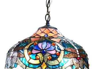 Chloe Tiffany Style Victorian Dragonfly Design 2 light Pendant