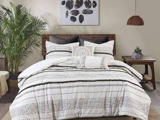 INK IVY Nea Cotton Printed Comforter Set w  Trims King Size