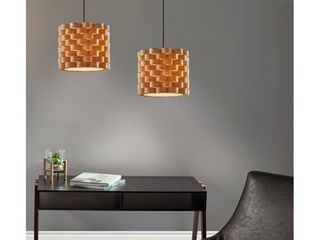Carson Carrington Riga Woven Wood Matte Black Ceiling Pendant