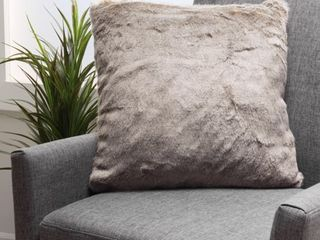 Elise Faux Fur Square Throw Pillow by CKH