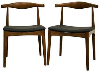Baxton Studio Mid Century Faux leather Dining Chairs Set of 2