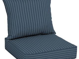 Arden Selections Acrylic Indigo Stripe Outdoor Deep Seat Cushion Set   46 in l x 25 in W x 7 5 in H