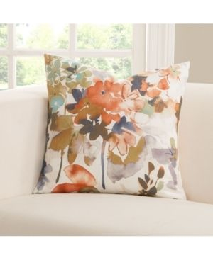 Siscovers Summer Set Peach Floral Designer Throw Pillow 16 x 16