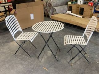 White and Black 3 Piece Outdoor Patio Set