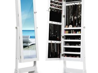 Costway White Mirrored Jewelry Cabinet Organizer