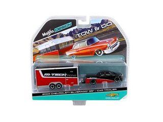 2004 Chevrolet Silverado SS with Car Trailer Red   Black Tow   Go 1 64 Diecast Model by Maisto