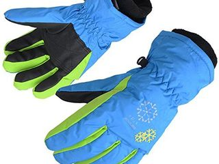 AMYIPO Kids Winter Snow Ski Gloves Children Snowboard Gloves for Boys Girls  Blue B  6 7 Years