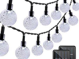 VMANOO Christmas Solar Powered Globe lights 30 lED  19 7ft  Globe Ball Fairy String light for Outdoor  2 Pack  White