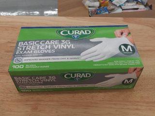 curad basic care 3g stretch vinyl exam gloves m