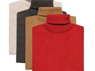 Unisex Turtleneck Dickies   4 Pack of Mock Turtlenecks   White Black Beige Red