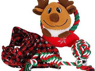 Alvi   Remi Dog Squeaky Plush Rope Toys with Bandanna  Toys Set  2