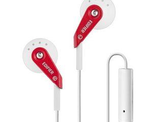 Edifier P185 Headphones Hi Fi Classic Earbud Earphones With Microphone   Red