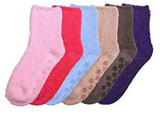 Mamia 6 Pairs Womens Cozy Slipper Socks Fuzzy Sock Multi Color Size 9 11