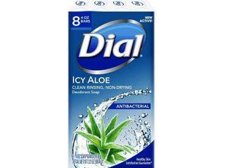 Dial Antibacterial Deodorant Icy Aloe Bar Soap   4oz 8pk