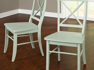 Set of 2 Dining Chairs Wood Mint Green   Buylateral