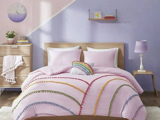 Full Queen leah 4pc Rainbow Comforter Set with Pompom Trim Pink