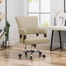 Bonaparte Traditional Home Office Chair  Wheat and Chrome