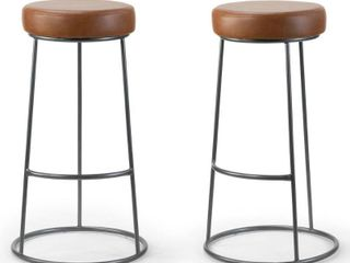 Amie Brown Faux leather Upholstered Backless Bar Stool  Set of 2  Retail 167 99