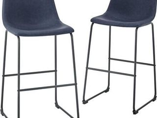 30  Industrial Faux leather Barstools  Set of 2   Navy Blue