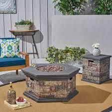 Chesney Outdoor 32in Octagonal 40 000 BTU light Weight Concrete Fire Pit by Christopher Knight Home