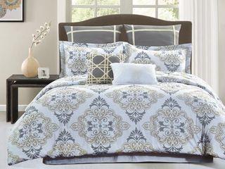 Style Quarters Suri 7pc Comforter Set   Gray and Taupe Damask Print   100  Cotton   Machine Washable   King  Retail 119 99