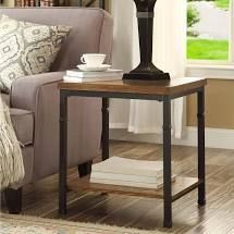 Metal Wood   Brown Black  Carbon loft Julia Industrial Veneer End Table Retail 105 49