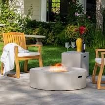 Santos Circular Propane Fire Pit Table with Tank Holder by Christopher Knight Home  Dark Grey
