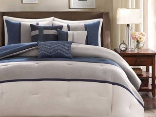 Blue Overland Microsuede Comforter Set King 7pc Homa