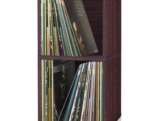 Way Basics 2 Shelf Cube Book Case  Vinyl lP Record Album Storage  Espresso